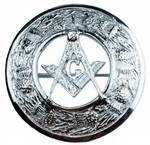 Masonic-Crest-Plaid-Brooch-In-Chrome-Finish