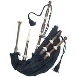 Rosewood-Bagpipe-Black-Watch-Bag-cover-with-cord,-with-turned-Plan-nickel-Sole-and-Knobs-with-soft-leather-bag.