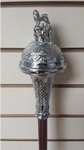 Dark-Mallaca-Cane,-Embossed-Chrome-Plated-Head