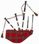 Black-Ebony-Wood-bagpipe,-ROYAL-STEWART-BAG-cover-with-cord,-with-IVORY