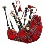 Scottish-Bagpipe-Black-color-Silver-Mounts-Royal-Stewart-Tartan-Bag-&-Cord-Brand-New-