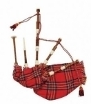 Rose-Wood-Royal-Stewart-Bagpipe-cover-with-cord,--with-White-Plastic-Sole,-Scrolls--and-Knobs-with-soft-