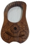 Engraved-Lyre-Harp-Rosewood-10-Metal-Strings/Lyra-Harp-+-Free-Carrying-Case,Key